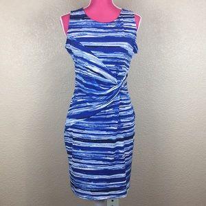 Calvin Klein Blue & White Stripe Sheath Dress